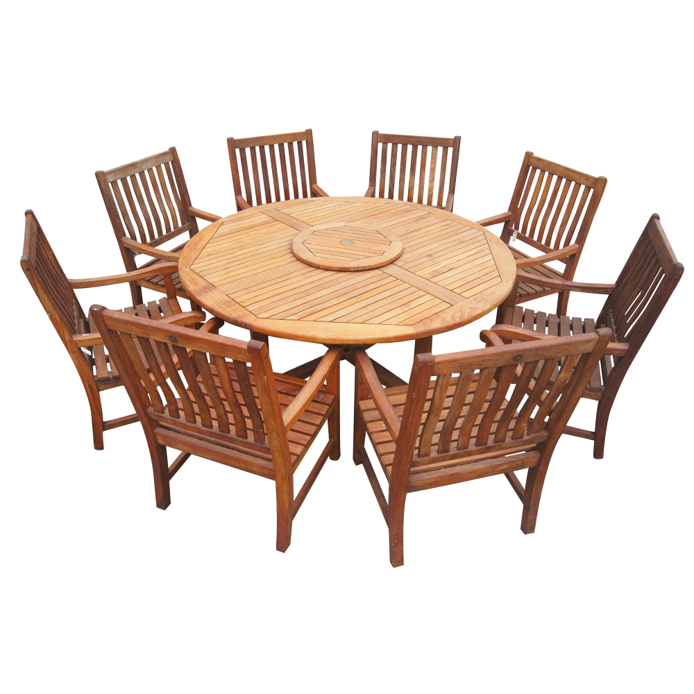 6ft vintage nauteak round outdoor dining table for Classic dining tables and chairs
