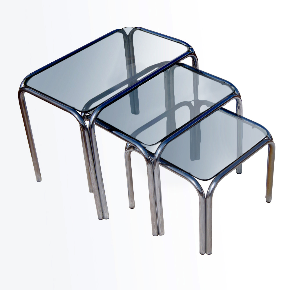 Ebay Iron Glass Coffee Table: Vintage Chrome And Smoked Glass Nesting Tables