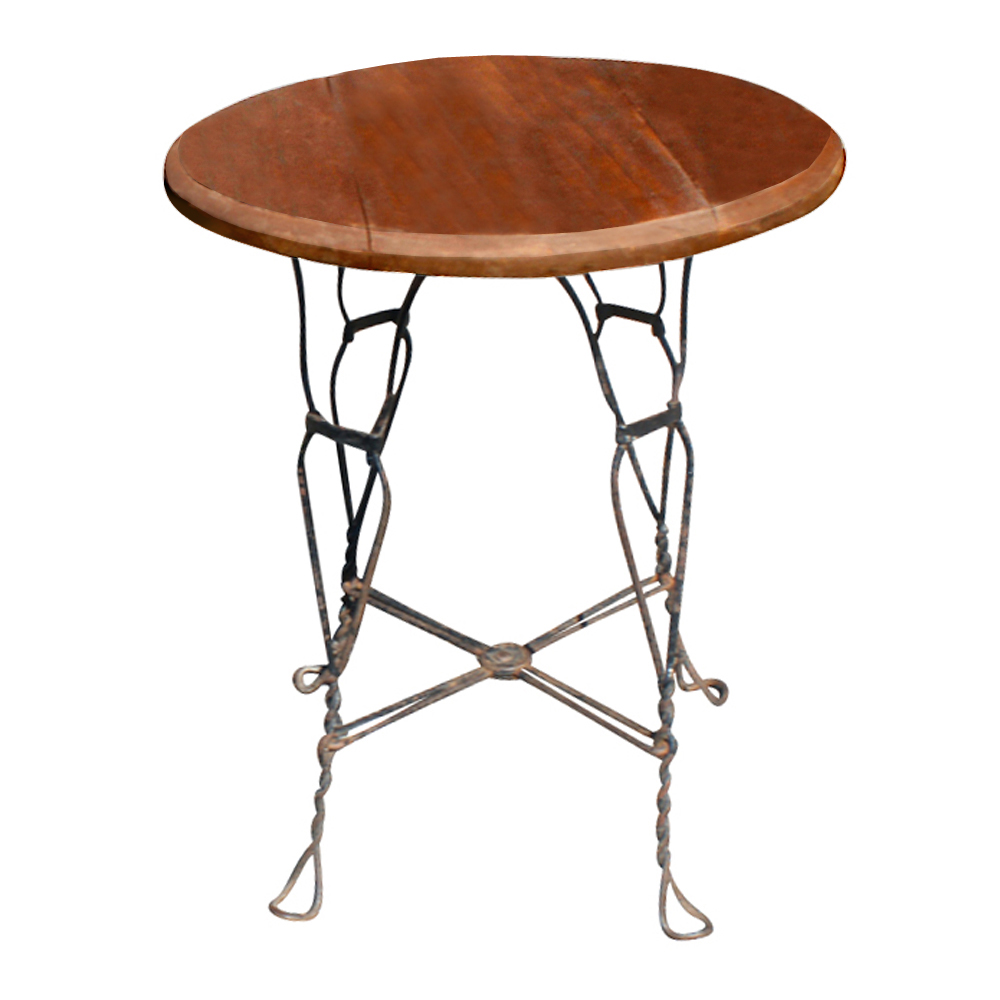24 Quot Vintage Outdoor Wood Wrought Iron Caf U00e9 Table