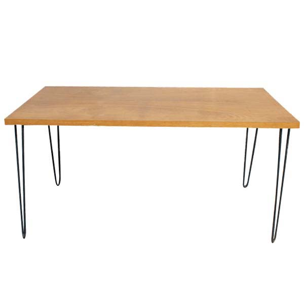 legs dining table features wood top black hairpin iron legs this ad is