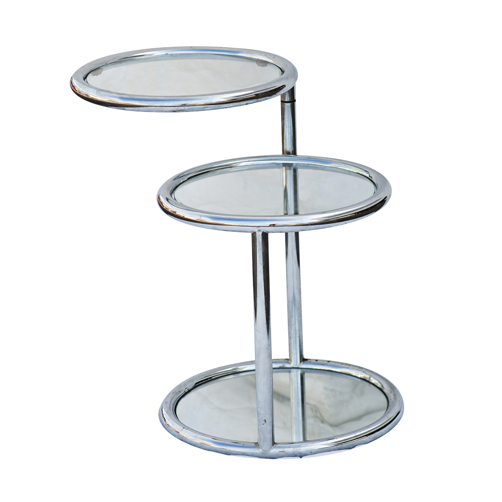 3 Circle Chrome And Glass Tiered Swivel Coffee Table Ebay