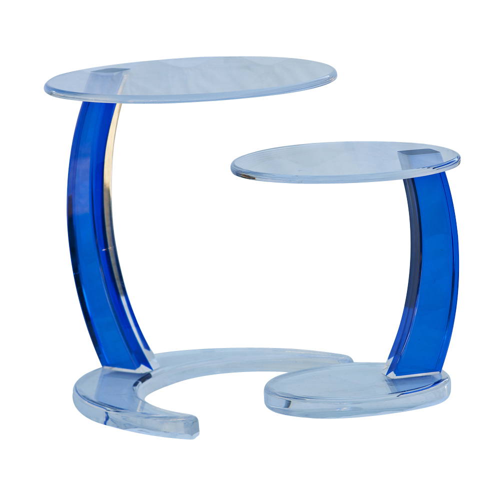 Blue Acrylic Circular Nesting Side Tables EBay