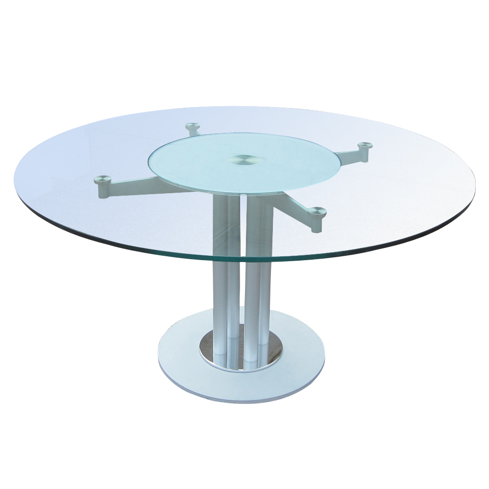 Modern Glass And Metal Circular Dining Conference Table 80 Off Ebay