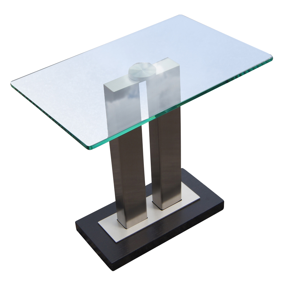 Contemporary glass and metal side table mr12717 80 off for Contemporary end tables