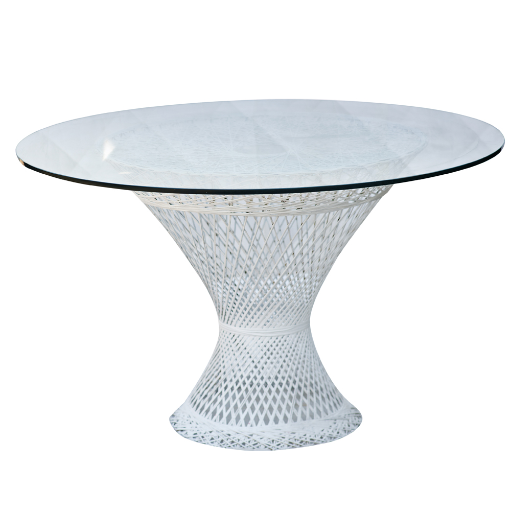 Ordinaire Vintage Wicker Table With Glass Top White Wicker Base With Circular Glass  Top