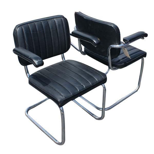 2 thonet leather cesca side chairs by marcel breuer ebay. Black Bedroom Furniture Sets. Home Design Ideas