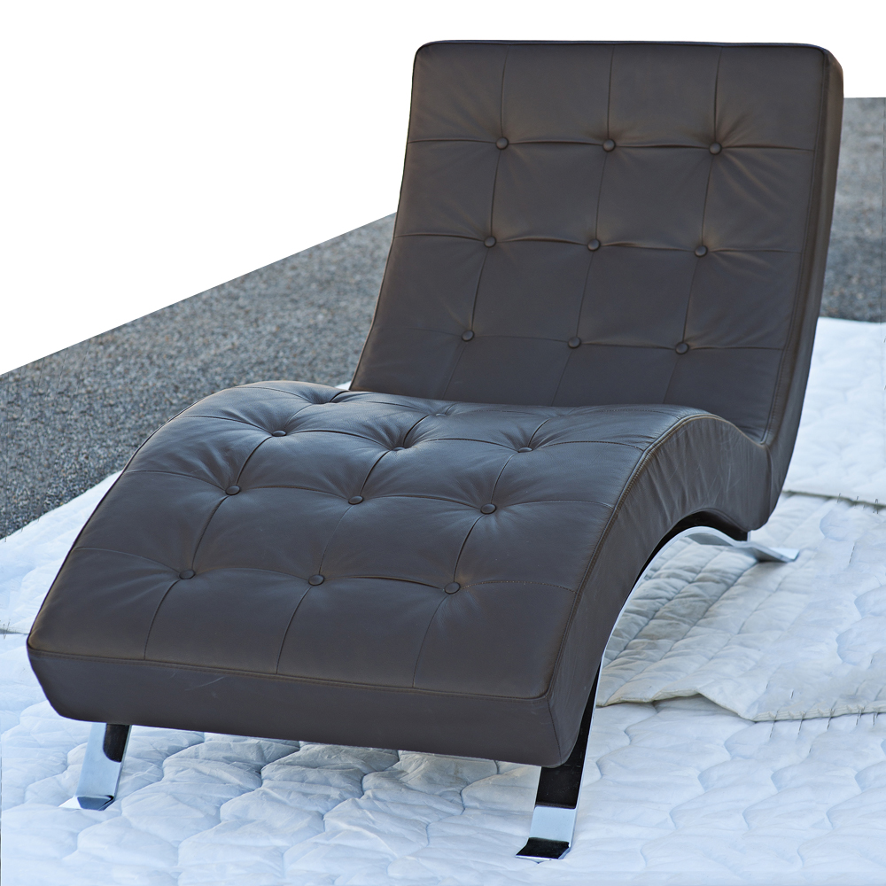 Contemporary Barcelona Style Chaise Lounge