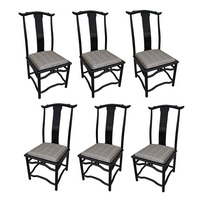 8 Italian Black Lacquer Chin Hua Dining Chairs