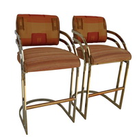 Vintage Mid Century Milo Baughman Flat Bar Gold Br Cantilever Stools