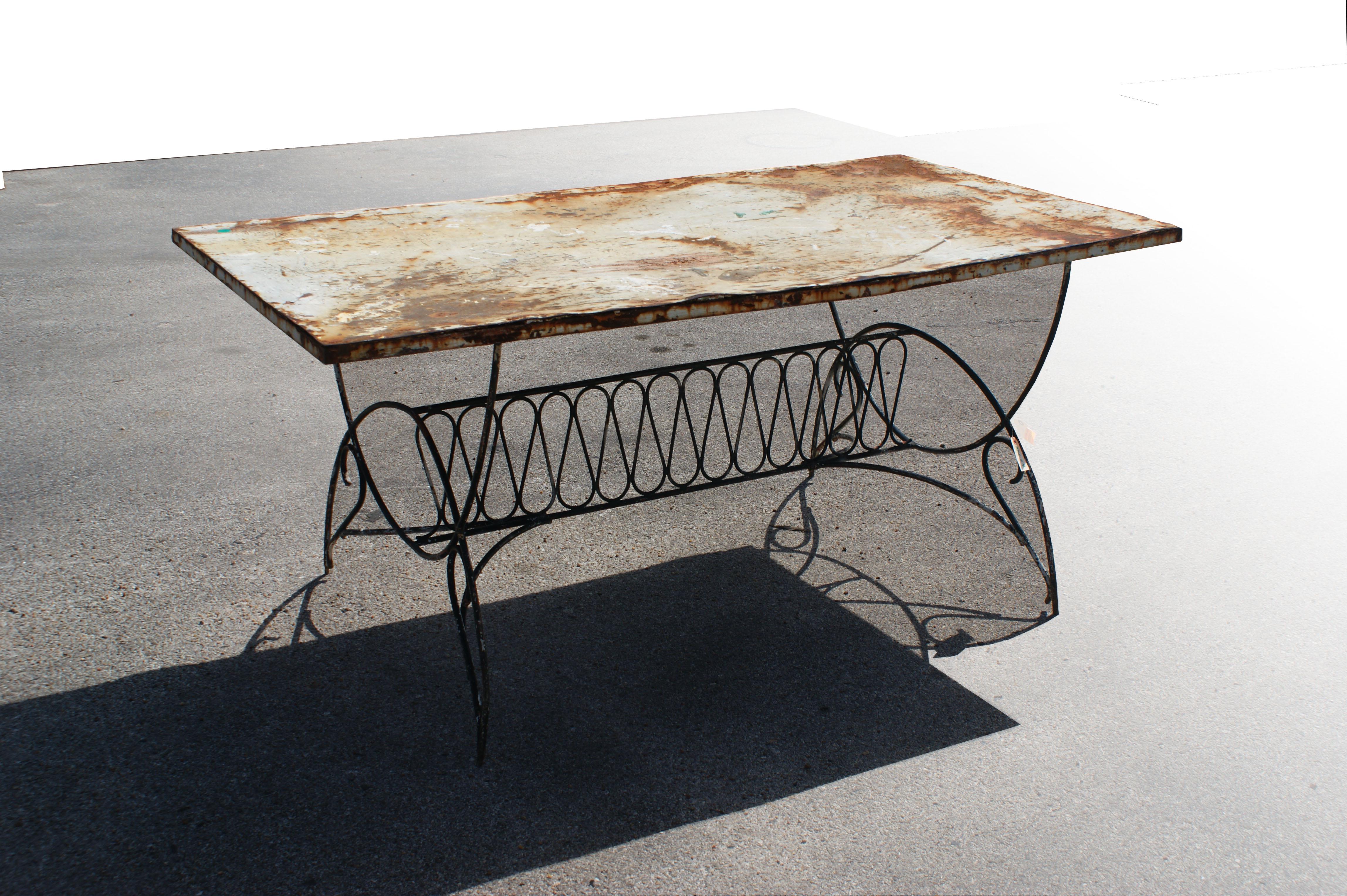 Vintage Art Deco Metal Outdoor Patio Dining Table